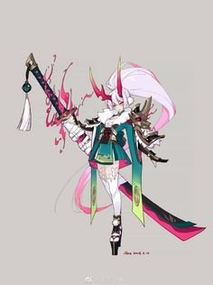 Anime art kawaoi sword katana long hair