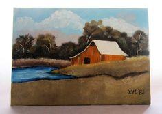 Vintage Original Unframed Painting 5x7 Canvas Landscape Barn Lake. $7.00, via Etsy.