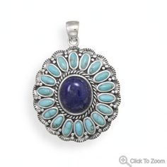 Oxidized Turquoise and Lapis Flower Pendant  by ForsgateJewelry, $114.75