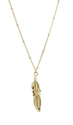 A feather charm necklace with just enough detail in a rich gold overlay.