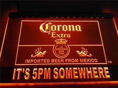 LA419- Itu0027s 5 pm Somewhere Corona Beer LED Neon Light Sign home decor crafts