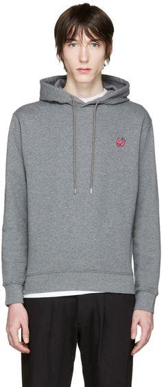 MCQ ALEXANDER MCQUEEN Grey Embroidered Hoodie. #mcqalexandermcqueen #cloth #hoodie