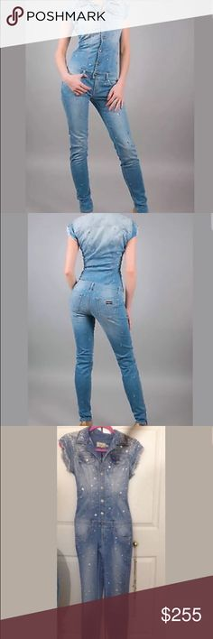 NWT SOLD OUT MET Bellaza Denim Jumpsuit Crystals One Of A Kind beautiful Denim Jumpsuit from Italian designer MET. This suit is called Bellaza and is completely sold out everywhere! I discovered this line many years ago and fell in love not just with the style but also with the quality and craftsmanship. This suit is done in a perfect Denim blue shade with raw edges at the end of the arms. And the blinding crystals that adorn all over the Jumpsuit stands out from miles away! Fits body…