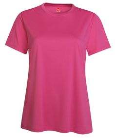 This Hanes Cool DRI t-shirt for women is a popular performance tee and is the ticket when you need it cool and dry. Special interlocking fabric wicks moisture away and dries fast. An added bonus: Excellent UV protection. TAGLESS top for no-itch comfort. Trimmer, contemporary fit.