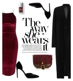 """""""Color Combo Series: Maroon & Black Fashion!"""" by bliznec ❤ liked on Polyvore featuring Topshop, Yves Saint Laurent, Rick Owens and Chloé"""