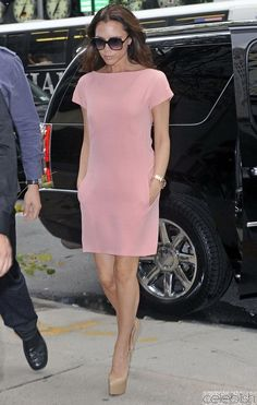 Victoria Beckham Petal Pink Knee Length Shift Dress | Celeblish.com