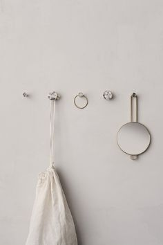 White Marble Stone Hook by Ferm Living Design Bestseller, Cupboard Handles, Marble Stones, Wall Hooks, Messing, Danish Design, Cabinet Doors, White Marble, Home Collections