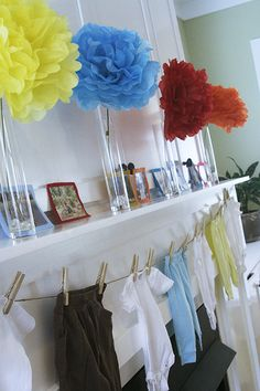 baby shower decor- use plain clothes as decor and have guests decorate/personalize them! ryan babi, showerbirthday idea, bell shower, parti tabl, babies clothes, shower idea, lindsey babi, babi shower, baby showers