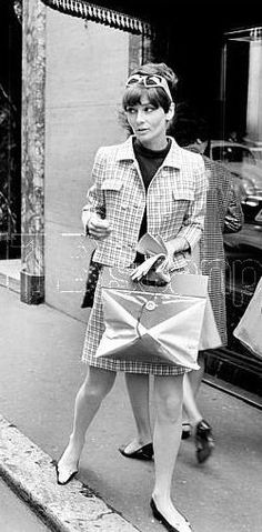 Photos by Elio Sorci, March 1968. Audrey Hepburn photographed at Rome's downtown by Elio Sorci, in March 1968 - wearing two-piece of Givenchy (jacket and dress, imitation of skirt and sleeveless blouse, of his collection for the Autumn/Winter 1967/68), sunglasses of Oliver Goldsmith and shoes of René Mancini. S)