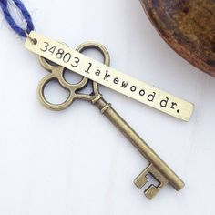 New Home Ornament - Custom Stamped First House Address Skeleton Key - Personalized Housewarming Gift - Wedding Tag - Vintage Rustic Brass