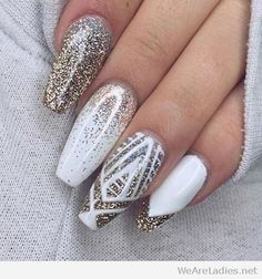 White nails with gold glitter