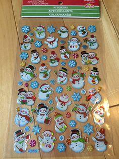 Feuille d'autocollants mini bonhomme de neige de Noël