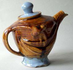 Teapot Brown Amber Blue Smile Happy Lips FUN Face by WatsonClayArt, $150.00