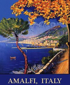 amalfi coast vintage poster - Google Search