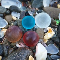 #seaglass marbles I found at Fort Bragg, CA