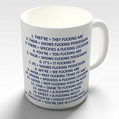 Grammar Expletive Mug Novelty Funny Gift Mug