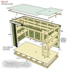 Easy-to-build storage locker. Use as a lawn mower shed, garden storage shed or both. Material list and plans available for this small outdoor storage shed! Garden Shed Diy, Garden Storage Shed, Outdoor Storage Sheds, Diy Shed, Garden Tools, Patio Storage, Firewood Storage, Range Velo, Wood Shed Plans