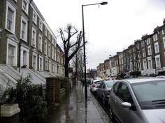 rainy sidewalk - London, England