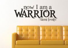 """Vinyl Wall Decal/Sticker Description: Demi Lovato Inspired Warrior Wall Decal Sticker Measurements: 31.2""""wide x 12""""high Black is generally the default for decals unless a different color is selected w"""
