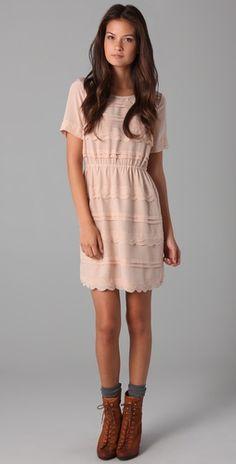 Madewell scallop dress  Nude Dress #2dayslook  #jamesfaith712 #NudeDress  www.2dayslook.com