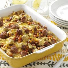 Midwest Meatball Casserole Recipe - Surprisingly Very Good. used precooked meatballs and can veggies. spiced up tomato sauce w/ homemade onion soup and italian seasoning. Used muenster cheese slices.