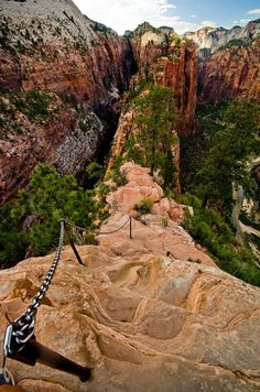 Angels Landing - Hiking Path Chains, Zion National Park, Utah United States: