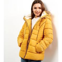 New Look Cameo Rose Yellow Faux Fur Trim Hooded Puffer Jacket ($63) ❤ liked on Polyvore featuring outerwear, jackets, corn yellow, yellow puffer jacket, puffer jacket, cameo jacket, yellow jacket and puffy jacket
