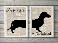 Happiness is A Dachshund SetDictionary Art by SweetCharlieandCo