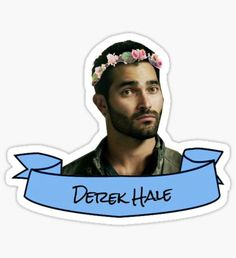 derek hale flower crown sticker Sticker
