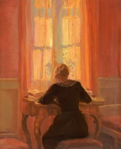 """""""Helga Reading At A Table"""" By Anna Ancher (Skagen Painter; Paintings I Love, Beautiful Paintings, Painting Inspiration, Art Inspo, Anna, Classical Art, Oeuvre D'art, Skagen, Female Art"""