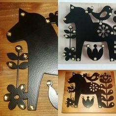 decor scandinavian dalarna horse Powder coated black metal on wood. Laser cut.
