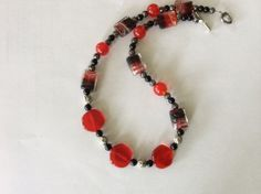 RED BLACK Silver Clear Red Glass Square Beads by DESIGNBYMONNY, $9.98
