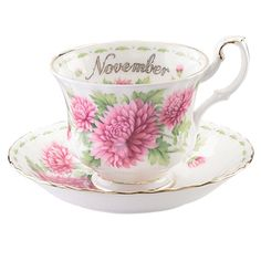 Royal Albert Flower of the Month November Teacup & Saucer perfect birthday prezzy😃 Cup And Saucer Set, Tea Cup Saucer, Chrysanthemum, Birthday Cup, Crystal Stemware, Teapots And Cups, China Tea Cups, Tea Art, My Cup Of Tea