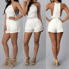 White Romper Brand new romper. Just got it in the mail but it's too small. Stylish Outfits, Cool Outfits, White Romper, Summer Outfits Women, Playsuits, Summer Wear, Jumpsuits For Women, Beachwear, Short Dresses