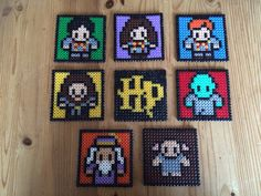 Harry Potter - hama bead coasters. I did this for my friend who loves Harry Potter. These coasters are unusual but perfekt gifts between friends, because you can customize them to fit personalities, ITS perfekt. :)