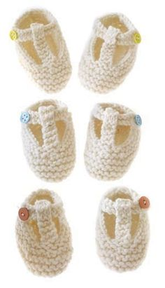 T-Strap Booties, Lion Brand Free Knitting Pattern Knitting For Kids, Baby Knitting Patterns, Baby Patterns, Free Knitting, Knitting Projects, Knit Baby Shoes, Baby Booties, Baby Socks, Knitted Booties
