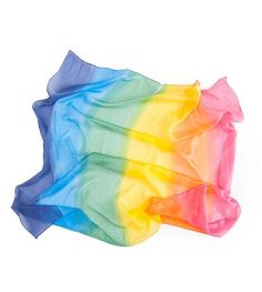 This large bright rainbow playsilk measure 35'' x 35'' and make a fantastic accessory for toddler pretend play! Hand wash, hang dry. Here are some ways your lit