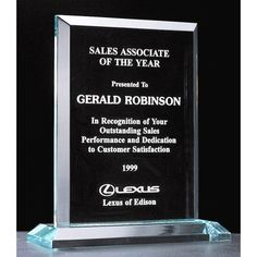 """Our Apex Series Jade Acrylic Award features a 3/4"""" clear engraving area.  A5467 is 8.25"""" tall, A5468 is 9.25"""" tall, and A5469"""" tall. Each includes free personalized engraving."""