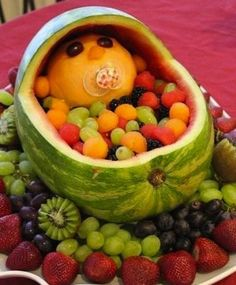 Awesome ways to turn paleo/ primal food into something special for parties! Perfect for a baby shower - a watermelon fruit bowl!
