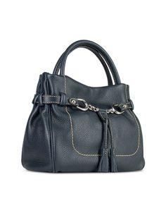 Blue Italian Pebble Calf Leather Bag