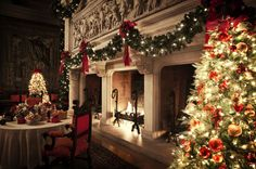 Fireplaces in the Banquet Hall at Biltmore House for Gilded Age Christmas. [Photo: The Biltmore Company]