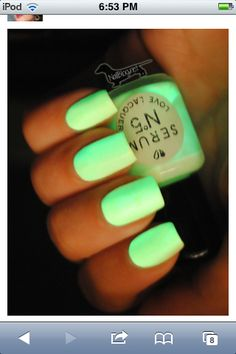 DIY!! You can make your own glow-on-the-dark nail polish! All u need is clear coat nail polish and glow sticks! 1. Get your clear coat nail polish 2. Using scissors, crack it open carefully. 3. Add the liquid to you clear coat. 4. Mix up and it's ready to use!!