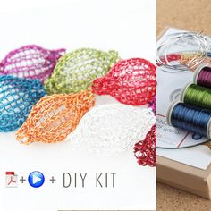 A unique jewelry making kit in Yoola's wire crochet invisible spool knitting technique. with the kit you will learn how to wire crochet fun colorful beads that can be assembled into necklaces and earr Crochet Diy, Wire Crochet, Crochet Hooks, Diy Jewelry Kit, Jewelry Making Tutorials, Unique Jewelry, Jewellery Making, Wire Jewelry, Jewelery