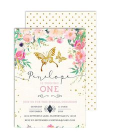 Butterfly Birthday Invitation / Pink and Gold First Birthday Invitation / First Birthday Invitation / Floral Birthday Invitation - Baby Shower Invitations Fairy Invitations, Princess Invitations, Flower Invitation, First Birthday Invitations, Pink Invitations, Baby Shower Invitations, Invites, Garden Birthday, Fairy Birthday