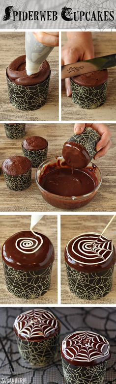 How to Make Spiderweb Cupcakes and Chocolate Spiders | From SugarHero.com
