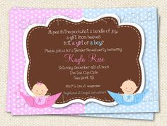 Pink or Blue Gender Reveal Party  Baby Shower by LollipopPrints