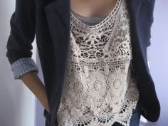 Blazer with lace tank - love the lace top.