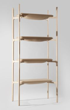 This four-tier shelving unit with bulging leather shelves by Belgium designer Damien Gernay is on display at London's Mint shop this month.