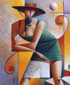 Georgy Kurasov - Girl in a Hat, 1997 Cubist Artists, Cubism Art, Art Optical, Illustration Art, Illustrations, Modern Art Paintings, Russian Art, Art Pictures, New Art