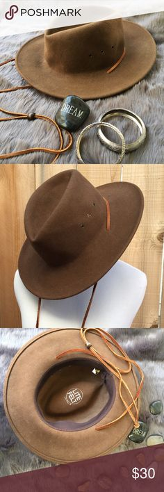 """Lite Felt 100% Wool Hat Women's pinched wool crown floppy fedora hat with leather chin cord. Has 3"""" brim. Also three metal grommets on each side. One spot on top of hat as shown in 4th photo. In great preloved condition with one spot. Lite Felt Accessories Hats"""